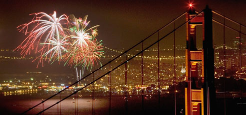 Fireworks Light up Golden Gate Bridge On Independence Day
